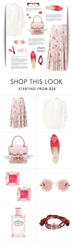 """Pink & Pleats"" by cara-mia-mon-cher ❤ liked on Polyvore featuring RED Valentino, BA&SH, Niels Peeraer, Alexander White, Kate Spade, Gucci, Prada, Shourouk and EyeBuyDirect.com"
