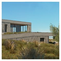 The landscape is combined with the building to create a symphony with nature. Landscape Architecture, Architecture Design, Zero Energy Building, Entrance Design, Passive House, Ecology, Facade, Cabin, Create