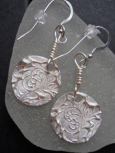 Earrings - PMC - Silver - Flourish. $25.00, via Etsy.