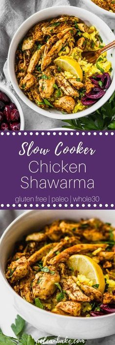 Slow cooker chicken shawarma combines the ease of a slow cooker meal with the complex flavor of a slow-roasted middle eastern chicken feast! Various serving options make this sensational #paleo and #glutenfree #dinner #recipe adaptable for #lowcarb and #Whole30 compliance, too! #easydinner #easydinnerrecipe #healthydinner #healthydinnerrecipe #paleodinner #paleodinnerideas #glutenfreedinner #glutenfreedinneridea #dairyfree #lowcarbdinner #whole30dinner via @acleanbake