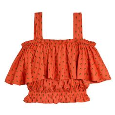 Samantha Pleet Melon Canopy Blouse (4.445 UYU) ❤ liked on Polyvore featuring tops, blouses, flounce crop top, ruched top, red ruffle blouse, strapless crop top and strapless tops