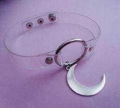 clear moon choker clear o ring collar pastel by OfStarsAndWine