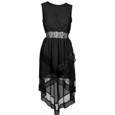 Black Lace Cut Out Mixi Dress ($38) ❤ liked on Polyvore