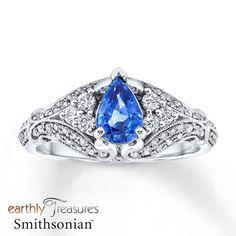 Natural Sapphire Ring 1/2 ct tw Diamonds 14K White Gold