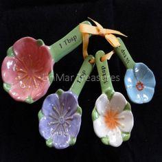 Ganz Ceramic Measuring Spoon Set Flowers