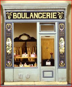 Boulangerie (Bakery) in scale miniature Vitrine Miniature, Miniature Rooms, Miniature Houses, Dolls House Shop, Doll Shop, Mini Store, Shop Facade, French Bakery, French Patisserie