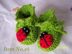 Image detail for -Handmade Hand Knit Beaded Crochet Baby Animal Shoes Booties with Red ...