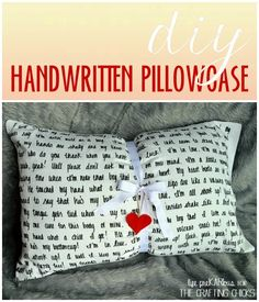 DIY Crafts | Write the lyrics to a favorite song on a pillowcase! Fantastic job done here. Will definitely do this.