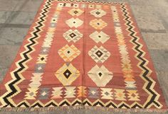 Bright diamond turkish kilim rug 7 x 5 ft by ClassicArtStudio