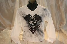 Hand painted and hand stenciled men's t shirt featuring a pirate skull. The colors are non-toxic, water based, permanent fabric colors. Pirate Hats, Pirate Skull, T Shirt Diy, Cotton Fabric, Long Sleeve Shirts, Graphic Sweatshirt, Hand Painted, Sweatshirts, Emo