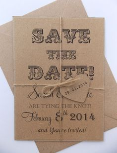 Rustic Save The Date Wedding Invitation Kraft by FromLeoniWithLove  After you know who's coming send out table numbers to people