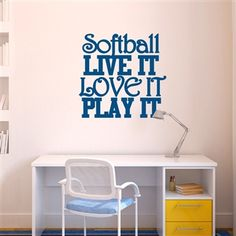 Softball Live It Love It Play It Removable ChalkTalkGraphix Wall Decal, coolest softball wall stickers