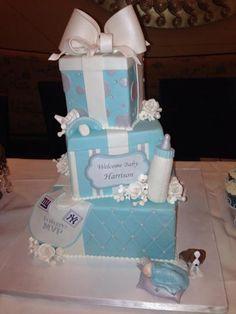 Blue Baby Shower Cake #bluebabyshower #cake