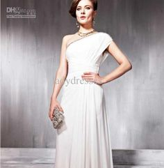 Wholesale Simple One-shoulder beads ruffle short slevee backless ankle-length prom dresses amp; evening dresses, Free shipping, $113.64/Piece   DHgate