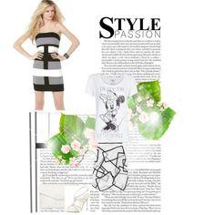 """""""Herve Leger Strapless Regular Black Grey Stripes Bandage Dress"""" by brouillety-bland on Polyvore"""