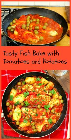Tasty fish bake with potatoes, olives and tomatoes. Makes a delicious easy dinner! http://www.mylittleitaliankitchen.com/