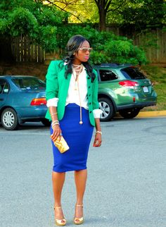 Cute blue pencil skirt with this blazer!