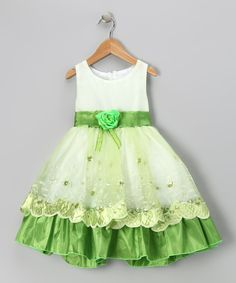 Lime Flower Organza Embroidered Dress - Toddler & Girls