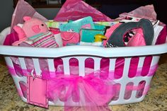 Baby Shower Gift Idea - fill a basket with goodies - diapers, wipes, clothes, bath stuff, toys