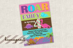 Dinosaur Stripes Girl Birthday Invitation by beenesprout on Etsy