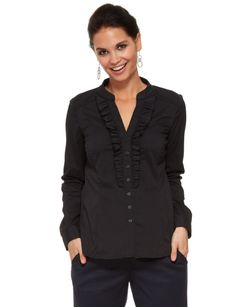 #NewandNow  Featuring a ruffled, button up placket front; this long-sleeve shirt is in a self-stripe fabric.