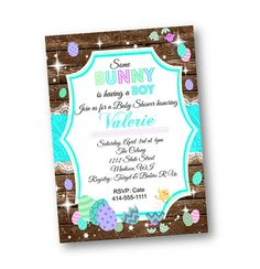 easter baby shower invitation - easter invite teal boy blue pastel turquoise rustic wood and lace