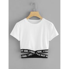 To find out about the Criss Cross Slogan Tape Crop Tee at SHEIN, part of our latest T-Shirts ready to shop online today! Teenage Outfits, Teen Fashion Outfits, Outfits For Teens, Trendy Outfits, Girl Fashion, Cool Outfits, Summer Outfits, Fashion Dresses, Fashion Black