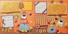Fall Fun 12 x 12 Premade Scrapbook Layout Autumn Layouts Halloween | eBay