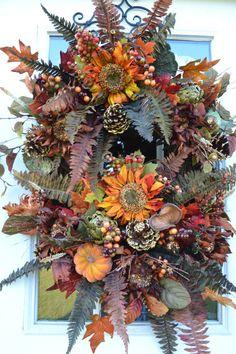 Sunflower Garden, Fall Wreath, Door Wreath, Glittered Sunflowers