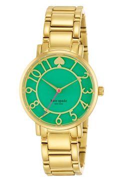 kate spade new york 'gramercy' round bracelet watch, 34mm