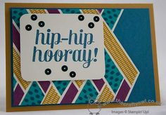 Stampin' Up! ... hand crafted congats card from The Crafty Owl by Joanne James ... luv the strip quilt look of her background with base cardstock margins ... clever cutting to show off base layer color ...