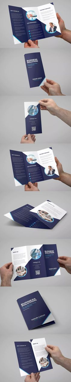 Business Solution Tri-Fold Brochure Template PSD - A4 and US Letter Size