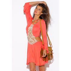 Coral pink crochet cut out backless bell sleeve boho summer party mini... (28 BAM) ❤ liked on Polyvore featuring dresses, pink, summer beach dresses, pink dress, short red dress, red party dresses and summer dresses
