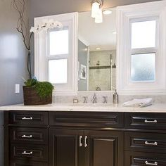Jeff Lewis Design - bathrooms - charcoal, gray, walls, extra-wide, glossy, black, single bathroom vanity, marble, top, orchid, black vanity,...