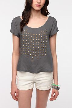 UrbanOutfitters.com > Lucca Couture Studded V-Back Tee