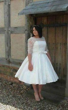 Tea Length Half Sleeve Wedding Dress Bridal Gown Plus Size Custom 18 20 22 24 26