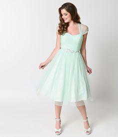 Unique Vintage 1950s Mint Swiss Dot Dandridge Strapless Swing Dress | Unique Vintage