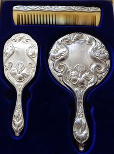VINTAGE 60s 70s SILVER PLATED 3 PIECE ART DECO STYLE VANITY DRESSING TABLE SET | eBay