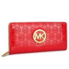 Michael Kors Logo-Print Large Red Wallets
