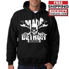 MADE IN DETROIT MICHIGAN HOODIE Crossed Sweatshirt the D Skull Hoody 313 Hooded #RockCityThreads #Hoodie