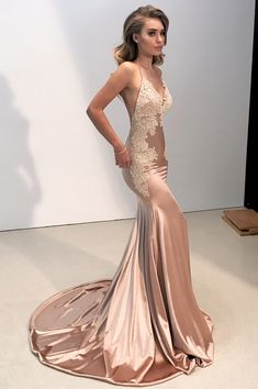 Sexy Straps V Neck Mermaid Long Evening Dress with Open Back M1934