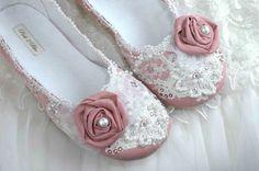 Rose Wedding Shoes Bridal Ballet Flat Vintage Lace