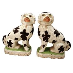 Pair Victorian period Staffordshire pottery pipe smoking dogs