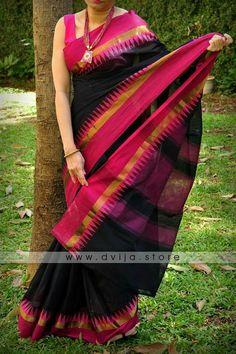 Black dhaka cotton saree with pink border Silk Kurtas, Kanjivaram Sarees Silk, Phulkari Saree, Indian Silk Sarees, Pink Saree Silk, Orange Saree, Cotton Saree, Saree Blouse Neck Designs, Kurta Designs