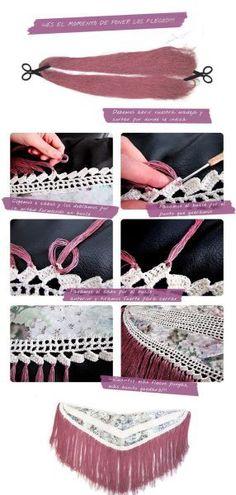 Mantoncillo de flamenca- Tutorial paso a paso Doll Dress Patterns, Dress Making Patterns, Lace Patterns, Poncho Au Crochet, Crochet Wool, Flamenco Costume, Types Of Embroidery, Crochet Diagram, Boho Diy