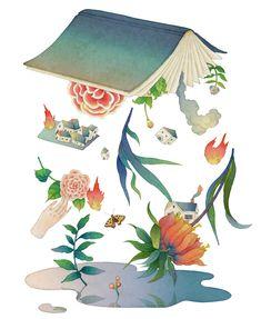 Whooli Chen, whimsical, painterly, delicate, sensitive, watercolour, Taiwan, Taiwanese, feminine, figurative, pretty, maps, people, decorative, detailed