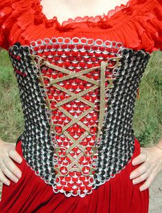 Soda can tab Renaissance Bodice-wish I had kept that container of pop tabs Soda Tab Crafts, Can Tab Crafts, Beer Crafts, Pop Top Crafts, Pop Art Costume, Pop Can Tabs, Soda Tabs, Beer Art, Pop Cans