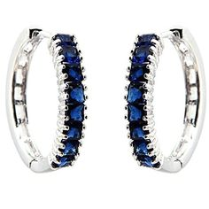 FC White Gold GP Prong Princess CZ Cubic Zirconia Blue Hoop Dangle Channel Earrings by FC -- Awesome products selected by Anna Churchill
