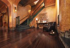 Mirage Floors, the world's finest and best hardwood floors. www.miragefloors.com #Mirage #Hardwood #Floor #African #Mahogany #Henna #Living #Room