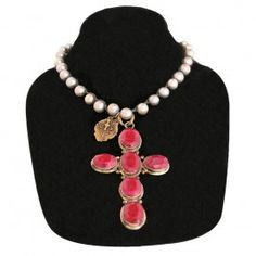 Necklace - Silver Pearl with Ruby Cross Necklace - JEWELRY - ACCESSORIES - LADIES | Pinto Ranch